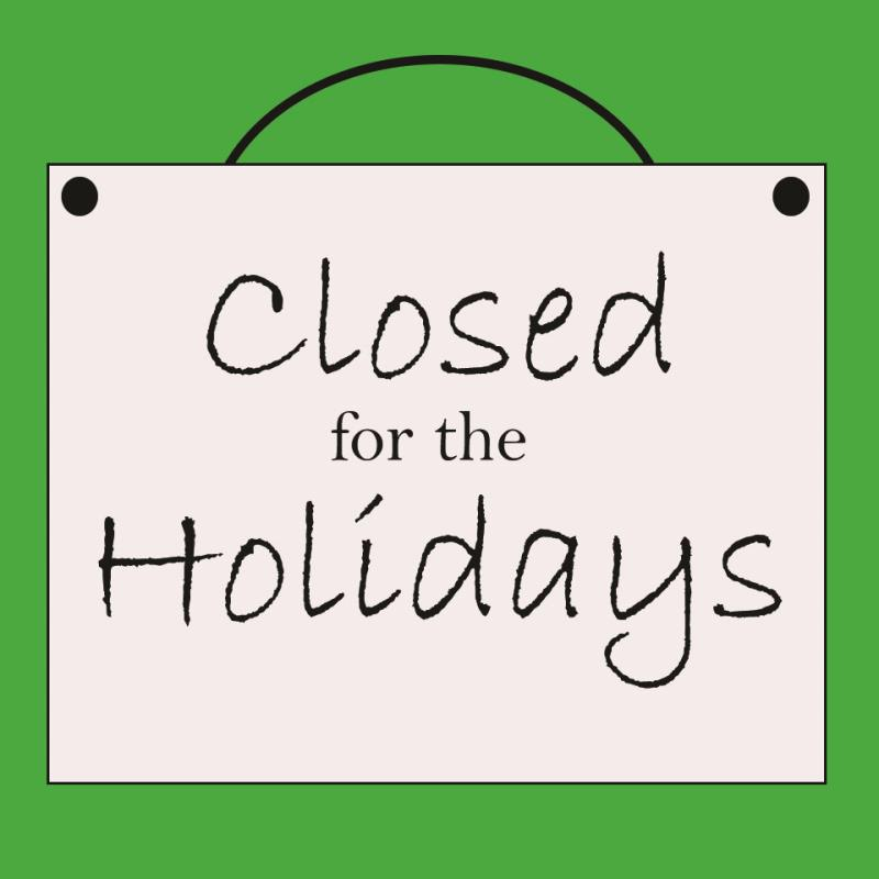 closed for the holidays image
